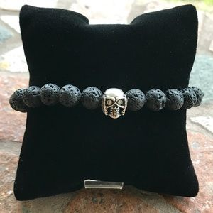 Genuine Lava rock & cz skeleton charm bracelet